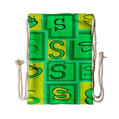Letter Huruf S Sign Green Yellow Drawstring Bag (small) by Mariart
