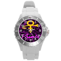 Prince Poster Round Plastic Sport Watch (l) by Onesevenart