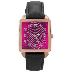 Above & Beyond Sticky Fingers Rose Gold Leather Watch  by Onesevenart