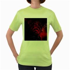 Bassnectar Galaxy Nebula Women s Green T Shirt by Onesevenart