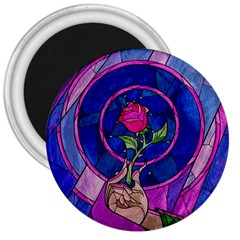 Enchanted Rose Stained Glass 3  Magnets by Onesevenart