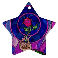 Enchanted Rose Stained Glass Ornament (star) by Onesevenart