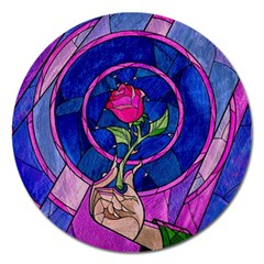 Enchanted Rose Stained Glass Magnet 5  (round) by Onesevenart
