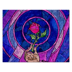 Enchanted Rose Stained Glass Rectangular Jigsaw Puzzl by Onesevenart