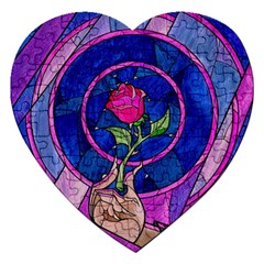 Enchanted Rose Stained Glass Jigsaw Puzzle (heart) by Onesevenart