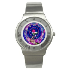 Enchanted Rose Stained Glass Stainless Steel Watch by Onesevenart