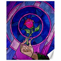 Enchanted Rose Stained Glass Canvas 16  X 20   by Onesevenart