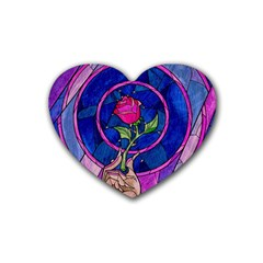Enchanted Rose Stained Glass Rubber Coaster (heart)  by Onesevenart