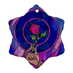 Enchanted Rose Stained Glass Ornament (snowflake) by Onesevenart