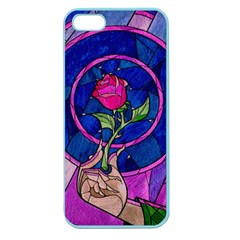 Enchanted Rose Stained Glass Apple Seamless Iphone 5 Case (color) by Onesevenart