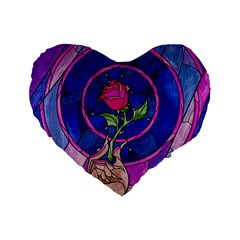Enchanted Rose Stained Glass Standard 16  Premium Flano Heart Shape Cushions by Onesevenart