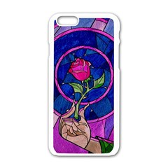 Enchanted Rose Stained Glass Apple Iphone 6/6s White Enamel Case by Onesevenart