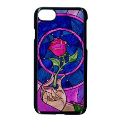 Enchanted Rose Stained Glass Apple Iphone 7 Seamless Case (black) by Onesevenart