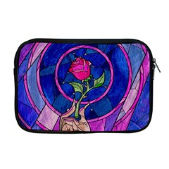 Enchanted Rose Stained Glass Apple Macbook Pro 17  Zipper Case by Onesevenart