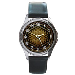Bring Me The Horizon Cover Album Gold Round Metal Watch by Onesevenart
