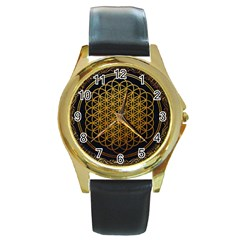 Bring Me The Horizon Cover Album Gold Round Gold Metal Watch by Onesevenart