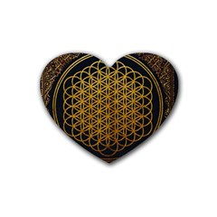 Bring Me The Horizon Cover Album Gold Rubber Coaster (heart)  by Onesevenart