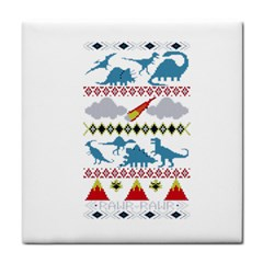 My Grandma Likes Dinosaurs Ugly Holiday Christmas Tile Coasters