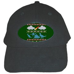 My Grandma Likes Dinosaurs Ugly Holiday Christmas Green Background Black Cap by Onesevenart