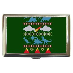 My Grandma Likes Dinosaurs Ugly Holiday Christmas Green Background Cigarette Money Cases by Onesevenart