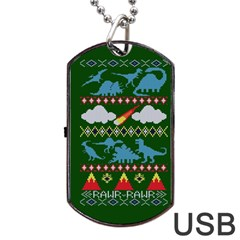 My Grandma Likes Dinosaurs Ugly Holiday Christmas Green Background Dog Tag Usb Flash (one Side) by Onesevenart