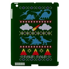 My Grandma Likes Dinosaurs Ugly Holiday Christmas Green Background Apple Ipad 3/4 Hardshell Case (compatible With Smart Cover) by Onesevenart