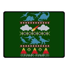 My Grandma Likes Dinosaurs Ugly Holiday Christmas Green Background Double Sided Fleece Blanket (small)  by Onesevenart