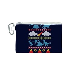 My Grandma Likes Dinosaurs Ugly Holiday Christmas Blue Background Canvas Cosmetic Bag (s) by Onesevenart