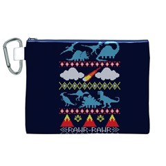 My Grandma Likes Dinosaurs Ugly Holiday Christmas Blue Background Canvas Cosmetic Bag (xl) by Onesevenart