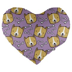 Corgi Pattern Large 19  Premium Heart Shape Cushions by Onesevenart