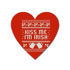 Kiss Me I m Irish Ugly Christmas Red Background Heart Magnet by Onesevenart