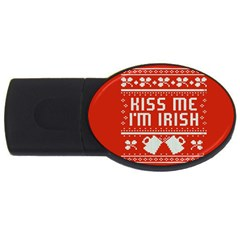 Kiss Me I m Irish Ugly Christmas Red Background Usb Flash Drive Oval (2 Gb) by Onesevenart