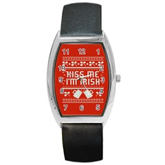 Kiss Me I m Irish Ugly Christmas Red Background Barrel Style Metal Watch by Onesevenart