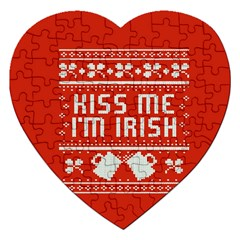 Kiss Me I m Irish Ugly Christmas Red Background Jigsaw Puzzle (heart) by Onesevenart