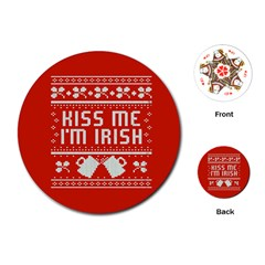 Kiss Me I m Irish Ugly Christmas Red Background Playing Cards (round)  by Onesevenart