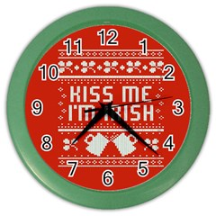Kiss Me I m Irish Ugly Christmas Red Background Color Wall Clocks by Onesevenart