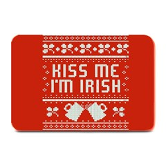 Kiss Me I m Irish Ugly Christmas Red Background Plate Mats by Onesevenart