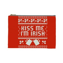 Kiss Me I m Irish Ugly Christmas Red Background Cosmetic Bag (large)