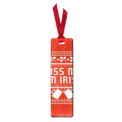 Kiss Me I m Irish Ugly Christmas Red Background Small Book Marks by Onesevenart