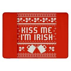 Kiss Me I m Irish Ugly Christmas Red Background Samsung Galaxy Tab 8 9  P7300 Flip Case by Onesevenart