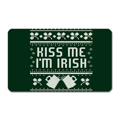 Kiss Me I m Irish Ugly Christmas Green Background Magnet (rectangular) by Onesevenart