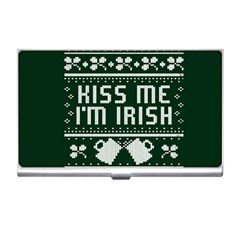 Kiss Me I m Irish Ugly Christmas Green Background Business Card Holders by Onesevenart