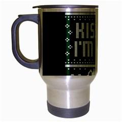 Kiss Me I m Irish Ugly Christmas Green Background Travel Mug (silver Gray) by Onesevenart