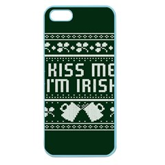 Kiss Me I m Irish Ugly Christmas Green Background Apple Seamless Iphone 5 Case (color) by Onesevenart