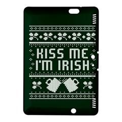 Kiss Me I m Irish Ugly Christmas Green Background Kindle Fire Hdx 8 9  Hardshell Case by Onesevenart