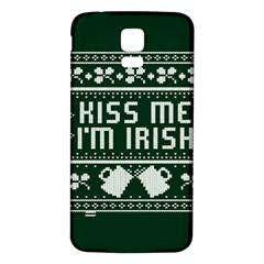 Kiss Me I m Irish Ugly Christmas Green Background Samsung Galaxy S5 Back Case (white) by Onesevenart