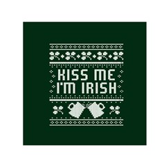 Kiss Me I m Irish Ugly Christmas Green Background Small Satin Scarf (square) by Onesevenart