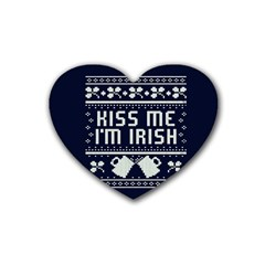Kiss Me I m Irish Ugly Christmas Blue Background Rubber Coaster (heart)  by Onesevenart