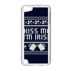 Kiss Me I m Irish Ugly Christmas Blue Background Apple Ipod Touch 5 Case (white) by Onesevenart