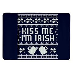Kiss Me I m Irish Ugly Christmas Blue Background Samsung Galaxy Tab 8 9  P7300 Flip Case by Onesevenart